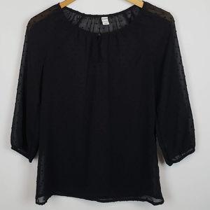 Old Navy Womens Sheer Long Sleeve Blouse Black